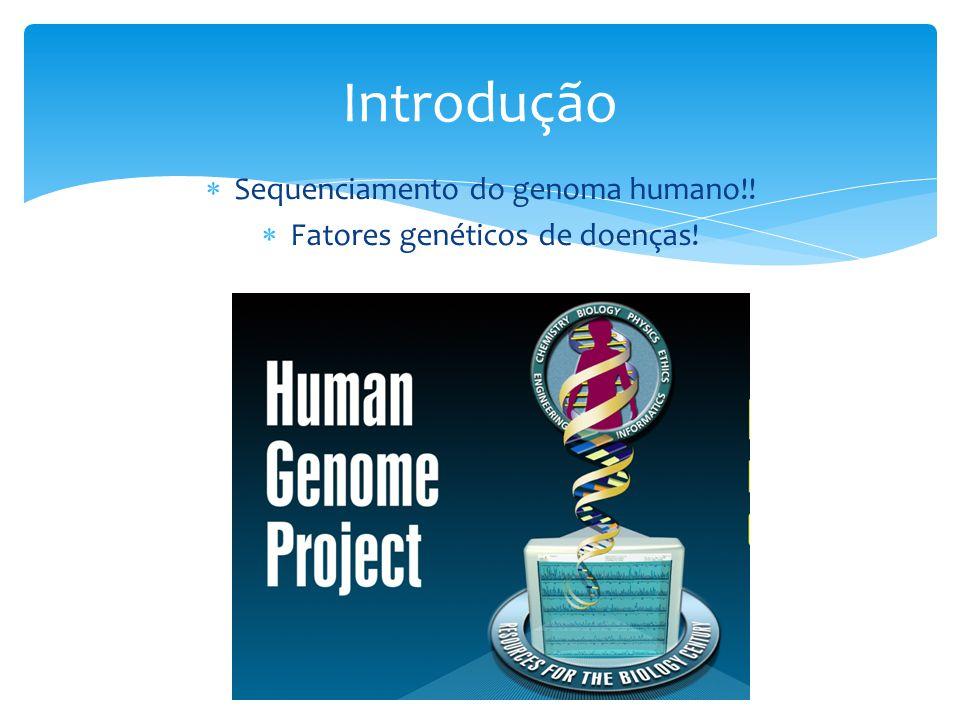  Sequenciamento do genoma humano!!  Fatores genéticos de doenças! Introdução