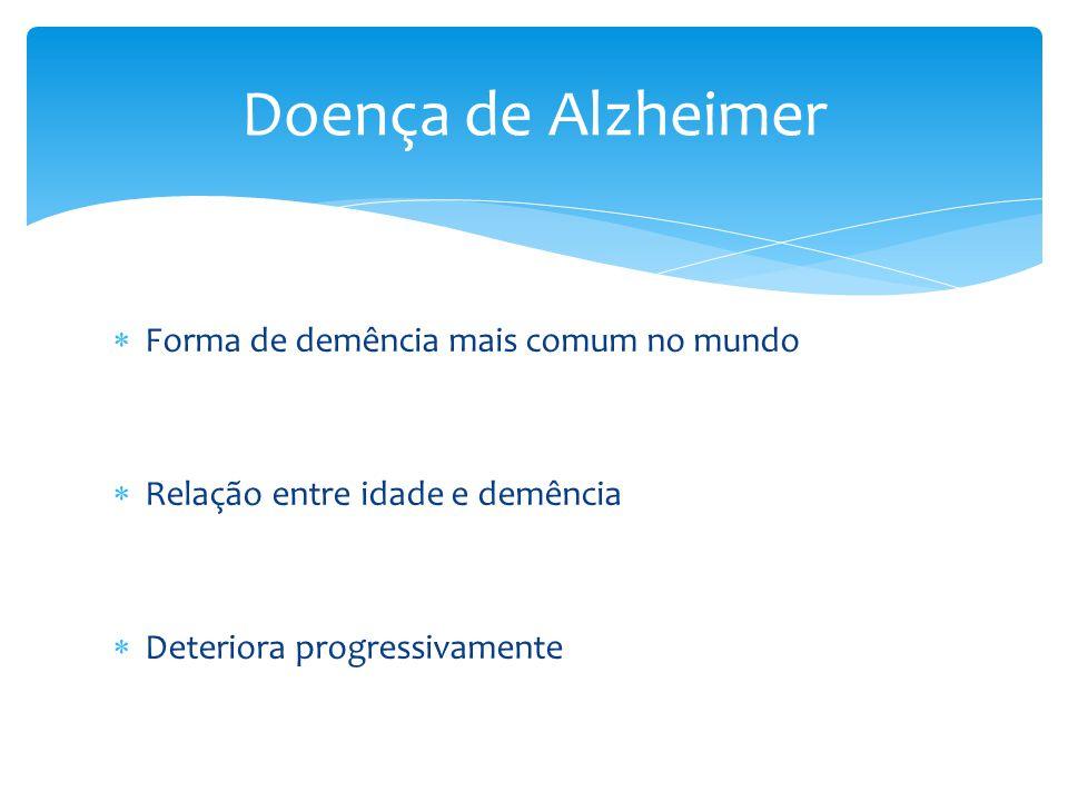  Forma de demência mais comum no mundo  Relação entre idade e demência  Deteriora progressivamente Doença de Alzheimer