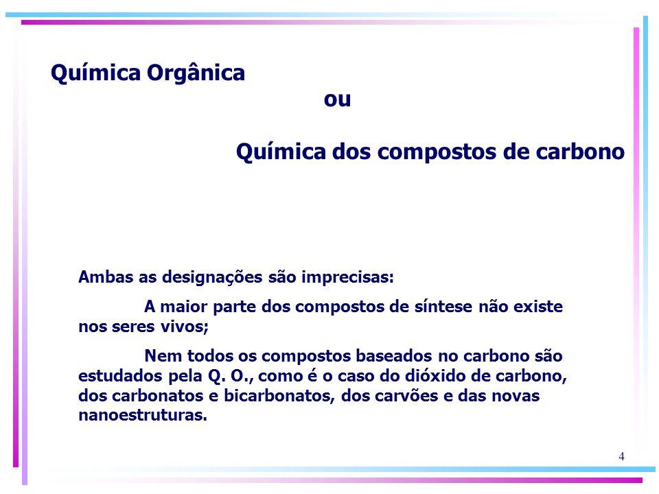 Química Orgânica ou Química dos compostos de carbono Ambas as designações são imprecisas: A maior parte dos compostos de síntese não existe nos seres