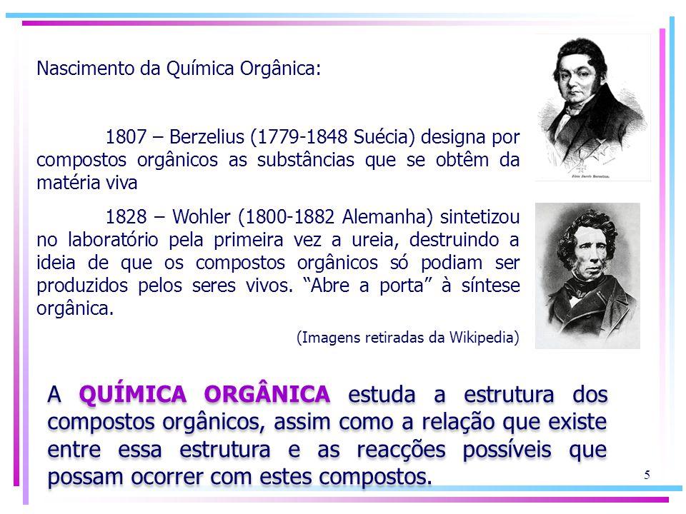 Nascimento da Química Orgânica: 1807 – Berzelius (1779-1848 Suécia) designa por compostos orgânicos as substâncias que se obtêm da matéria viva 1828 –