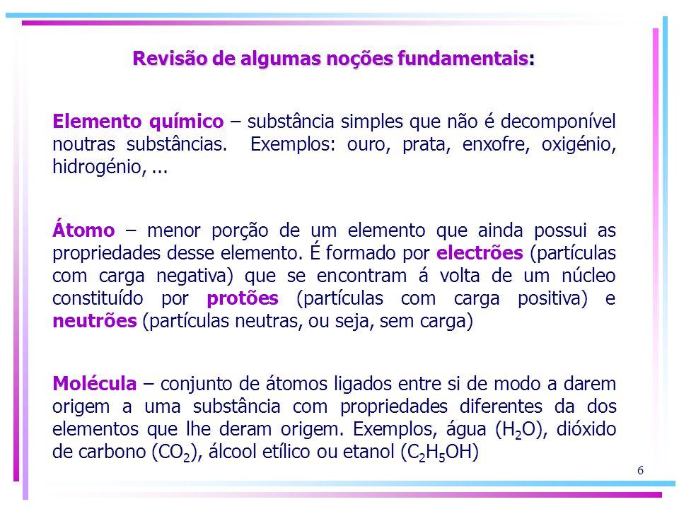 Revisão de algumas noções fundamentais: Elemento químico – substância simples que não é decomponível noutras substâncias. Exemplos: ouro, prata, enxof