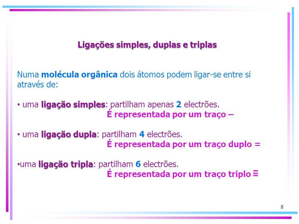 Ligações simples, duplas e triplas Numa molécula orgânica dois átomos podem ligar-se entre si através de: ligação simples • uma ligação simples: parti