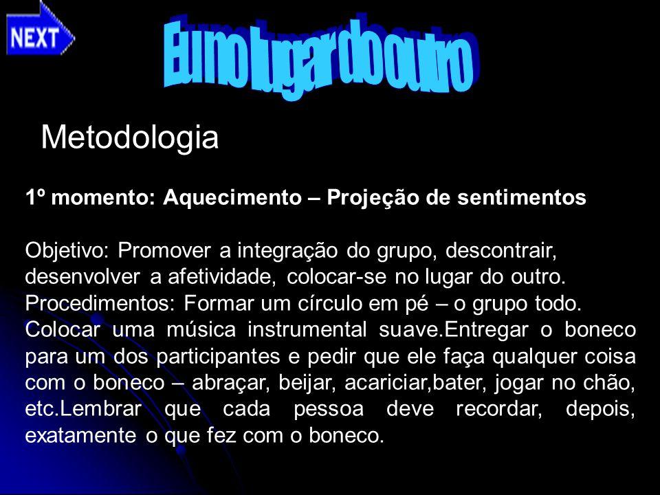 Metodologia 1º momento: Aquecimento – Projeção de sentimentos Objetivo: Promover a integração do grupo, descontrair, desenvolver a afetividade, coloca