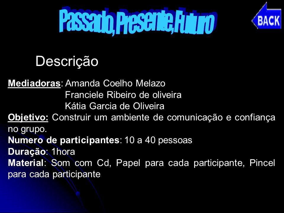 Descrição Mediadoras: Amanda Coelho Melazo Franciele Ribeiro de oliveira Kátia Garcia de Oliveira Objetivo: Construir um ambiente de comunicação e con