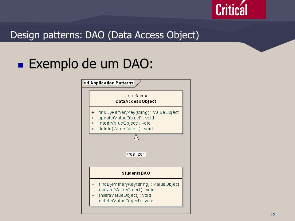 12 Design patterns: DAO (Data Access Object)  Exemplo de um DAO: