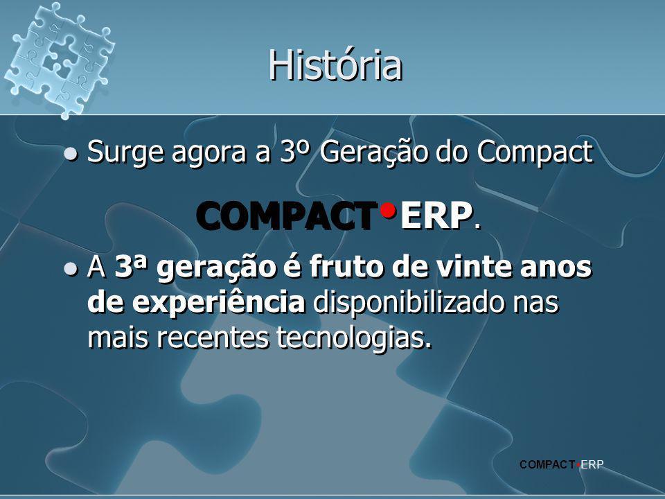 História  Surge agora a 3º Geração do Compact COMPACT  ERP.  A 3ª geração é fruto de vinte anos de experiência disponibilizado nas mais recentes te