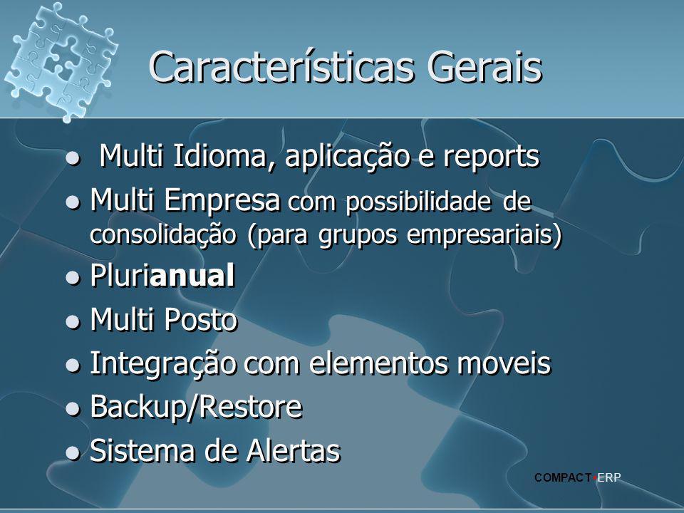 Características Gerais  Multi Idioma, aplicação e reports  Multi Empresa com possibilidade de consolidação (para grupos empresariais)  Plurianual 
