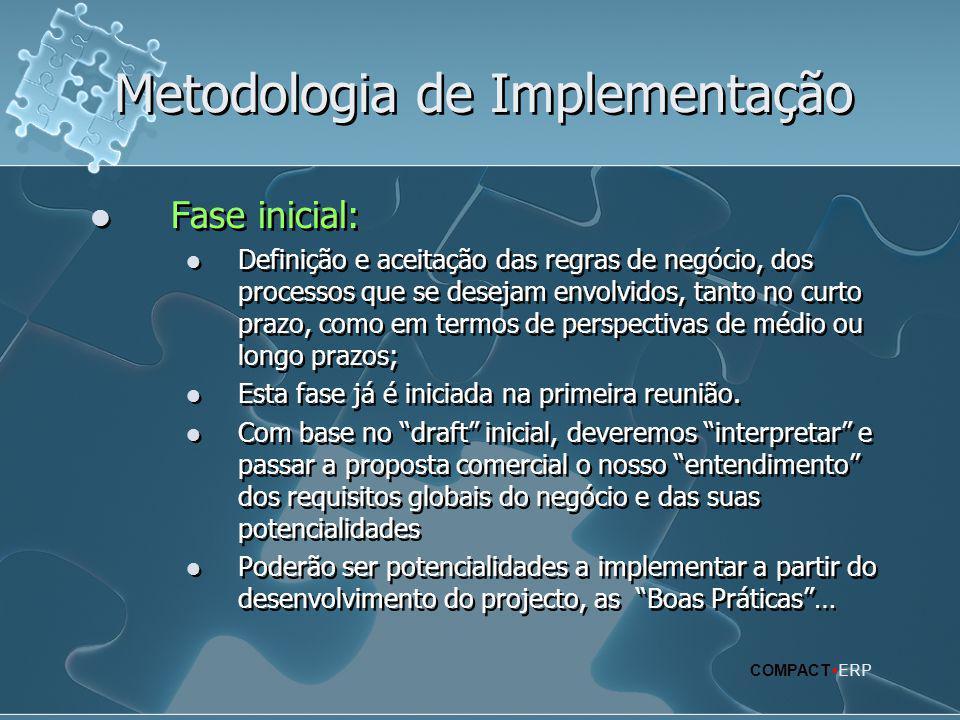 Metodologia de Implementação  Fase inicial:  Definição e aceitação das regras de negócio, dos processos que se desejam envolvidos, tanto no curto pr
