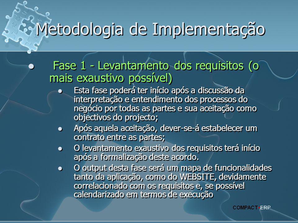 Metodologia de Implementação  Fase 1 - Levantamento dos requisitos (o mais exaustivo possível)  Esta fase poderá ter início após a discussão da inte