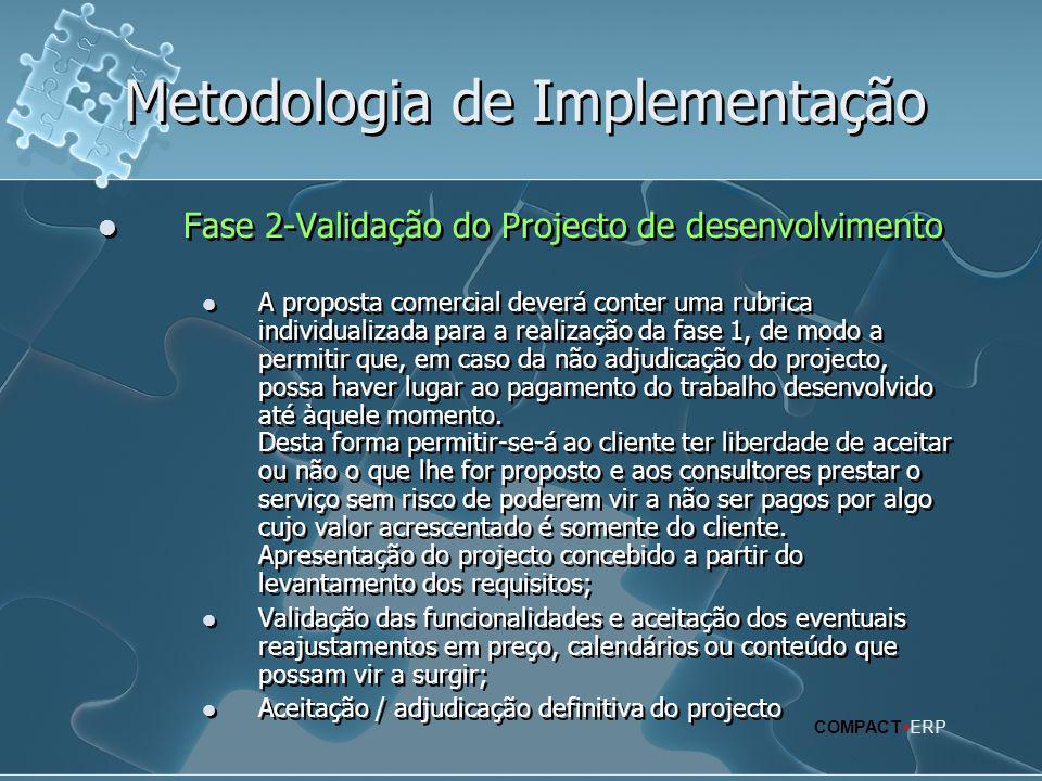 Metodologia de Implementação  Fase 2-Validação do Projecto de desenvolvimento  A proposta comercial deverá conter uma rubrica individualizada para a