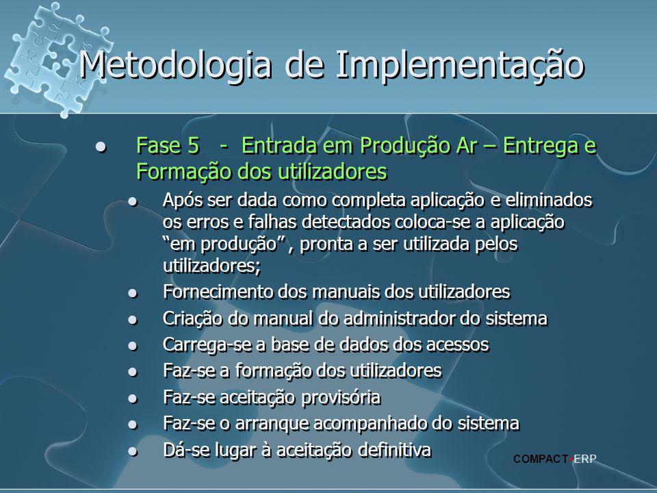 Metodologia de Implementação  Fase 5 - Entrada em Produção Ar – Entrega e Formação dos utilizadores  Após ser dada como completa aplicação e elimina