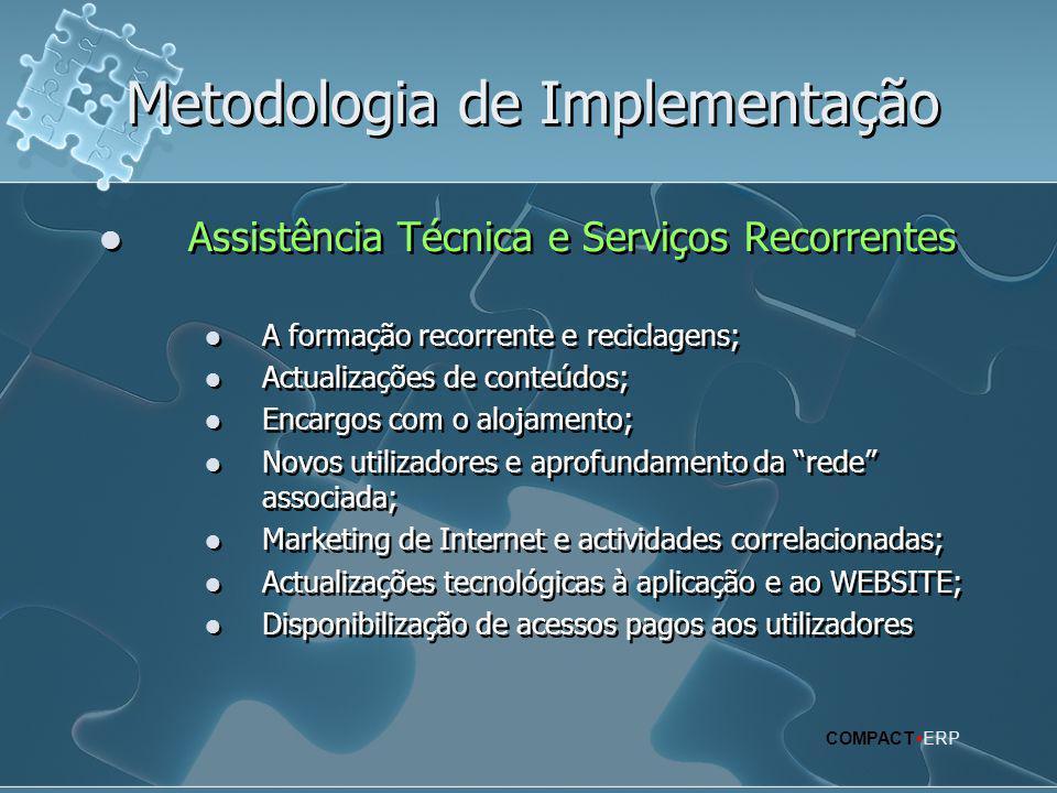 Metodologia de Implementação  Assistência Técnica e Serviços Recorrentes  A formação recorrente e reciclagens;  Actualizações de conteúdos;  Encar