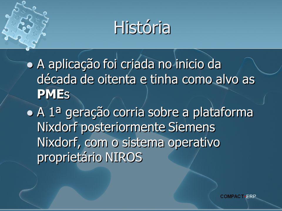 História  A aplicação foi criada no inicio da década de oitenta e tinha como alvo as PMEs  A 1ª geração corria sobre a plataforma Nixdorf posteriorm