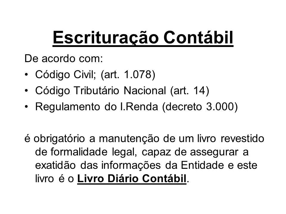 Escrituração Contábil De acordo com: •Código Civil; (art. 1.078) •Código Tributário Nacional (art. 14) •Regulamento do I.Renda (decreto 3.000) é obrig