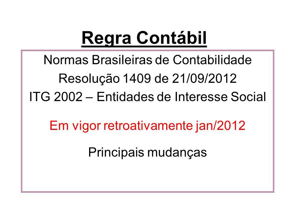 Regra Contábil Normas Brasileiras de Contabilidade Resolução 1409 de 21/09/2012 ITG 2002 – Entidades de Interesse Social Em vigor retroativamente jan/