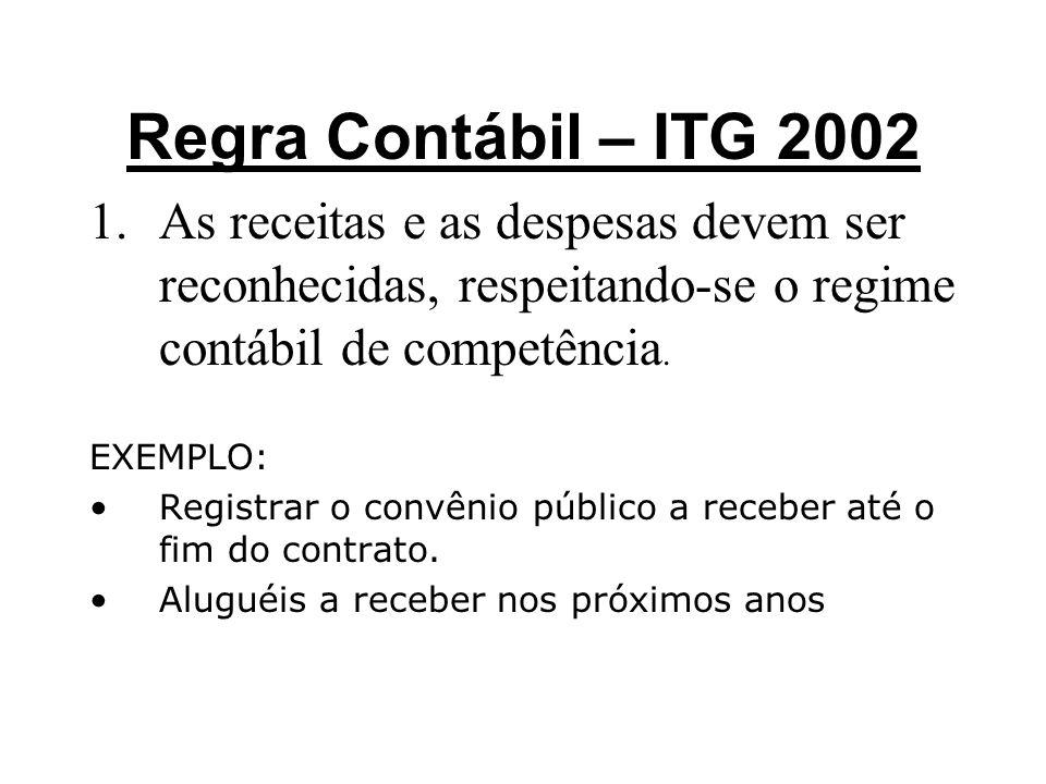 Regra Contábil – ITG 2002 1.As receitas e as despesas devem ser reconhecidas, respeitando-se o regime contábil de competência. EXEMPLO: •Registrar o c