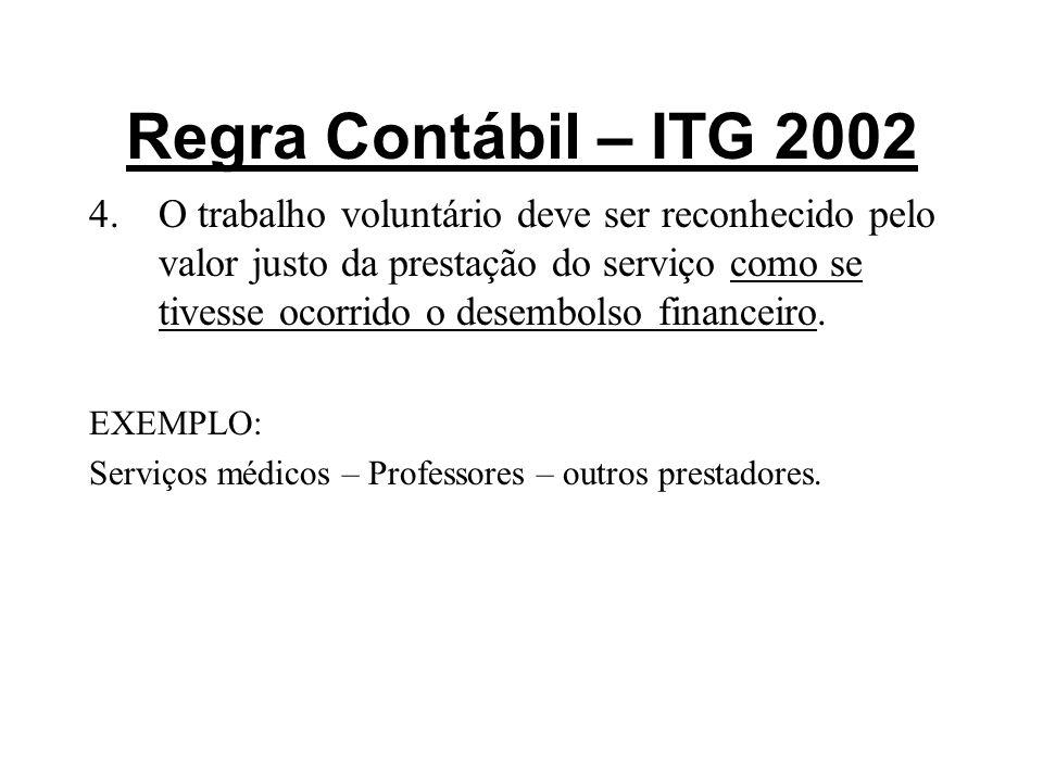 Regra Contábil – ITG 2002 4.O trabalho voluntário deve ser reconhecido pelo valor justo da prestação do serviço como se tivesse ocorrido o desembolso