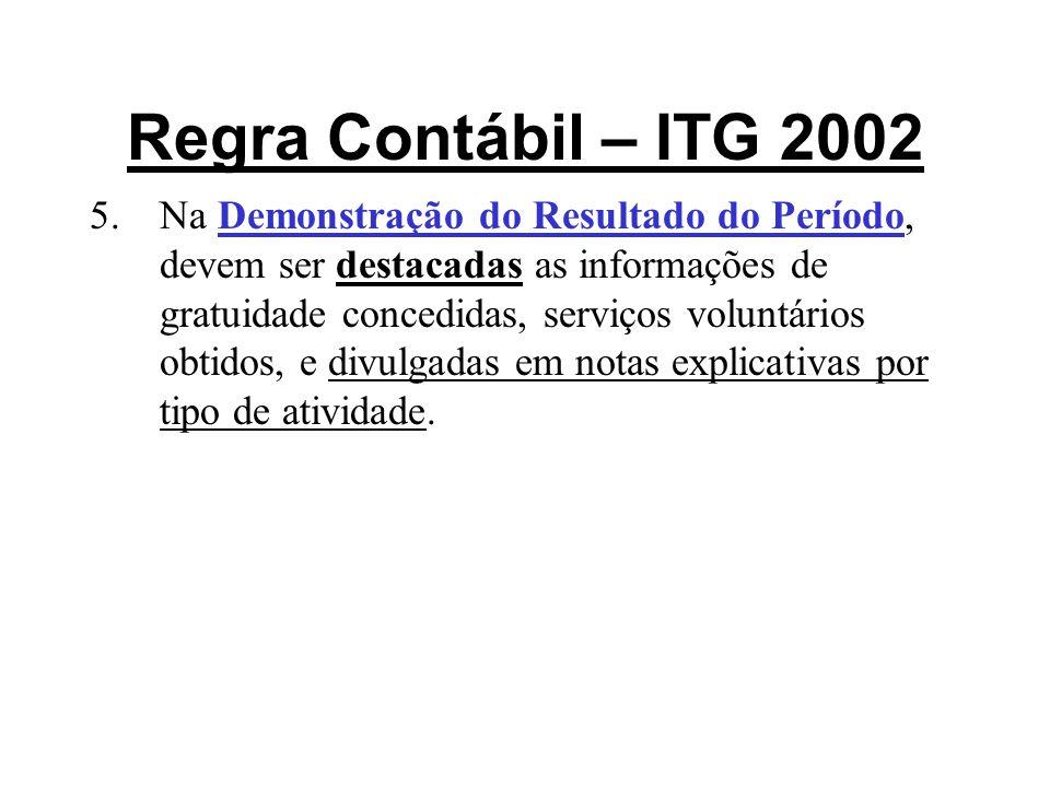 Regra Contábil – ITG 2002 5.Na Demonstração do Resultado do Período, devem ser destacadas as informações de gratuidade concedidas, serviços voluntário