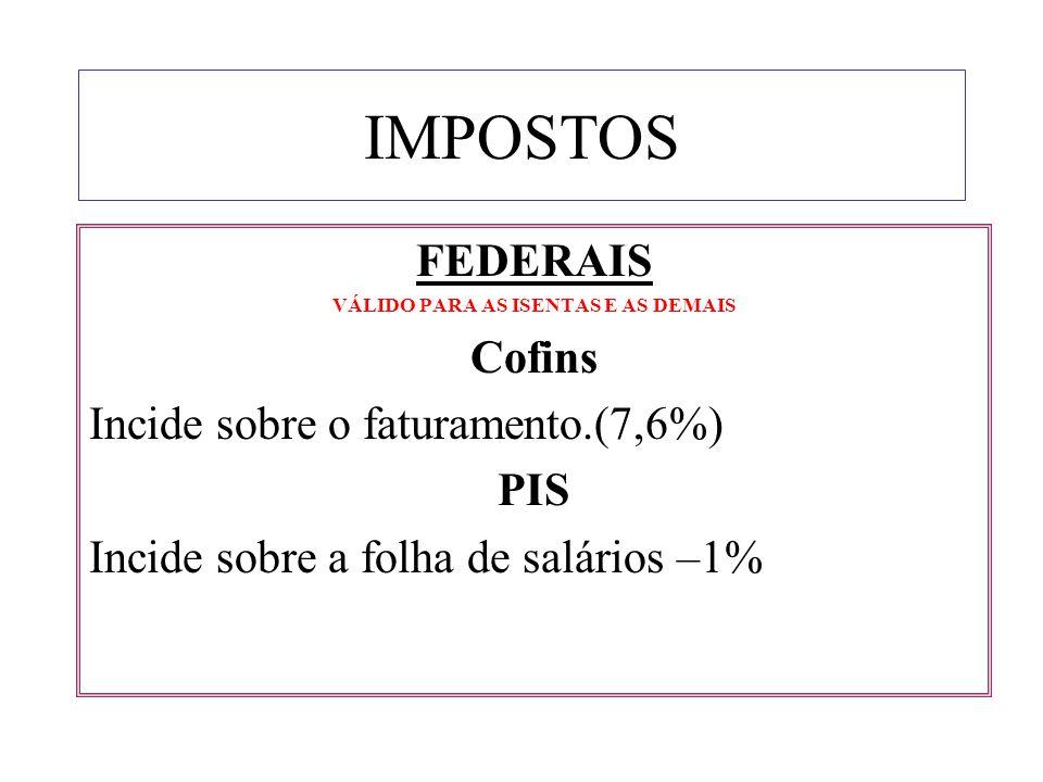 IMPOSTOS FEDERAIS VÁLIDO PARA AS ISENTAS E AS DEMAIS Cofins Incide sobre o faturamento.(7,6%) PIS Incide sobre a folha de salários –1%