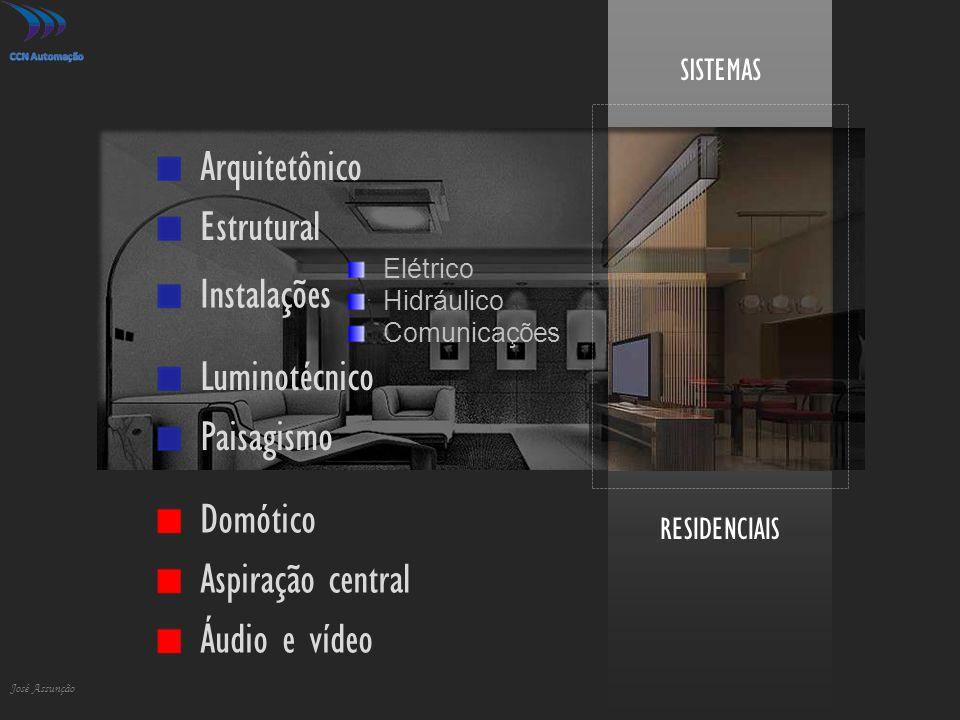 RESIDENCIAIS SISTEMAS José Assunção Arquitetônico Elétrico Hidráulico Comunicações Estrutural Instalações Aspiração central Áudio e vídeo Luminotécnic