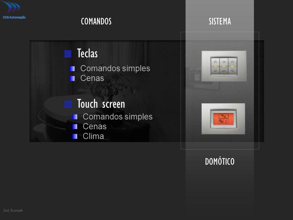 DOMÓTICO José Assunção SISTEMACOMANDOS Teclas Touch screen Comandos simples Cenas Comandos simples Cenas Clima