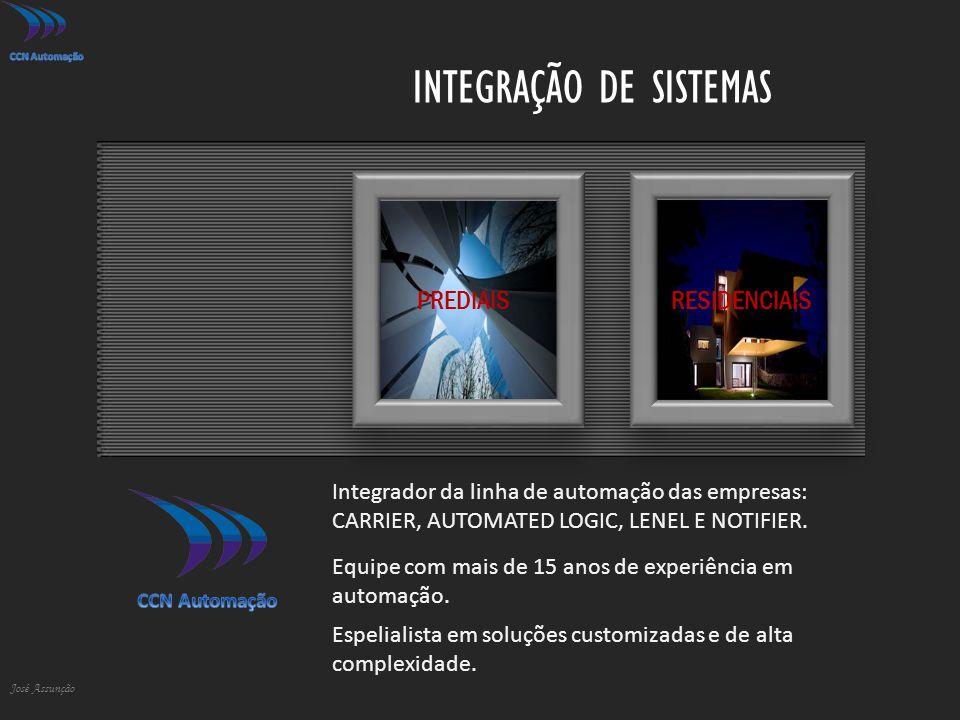 INTEGRAÇÃO DE SISTEMAS José Assunção PREDIAISRESIDENCIAIS Integrador da linha de automação das empresas: CARRIER, AUTOMATED LOGIC, LENEL E NOTIFIER. E