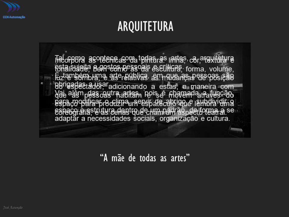 """ARQUITETURA José Assunção """"A mãe de todas as artes"""" Incorpora as técnicas da pintura: linha, cor, textura e tonalidade, bem como as da escultura, form"""
