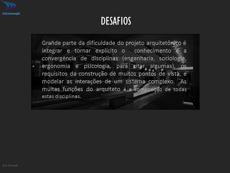 DESAFIOS José Assunção Grande parte da dificuldade do projeto arquitetônico é integrar e tornar explícito o conhecimento e a convergência de disciplinas (engenharia, sociologia, ergonomia e psicologia, para citar algumas), os requisitos da construção de muitos pontos de vista, e modelar as interações de um sistema complexo.