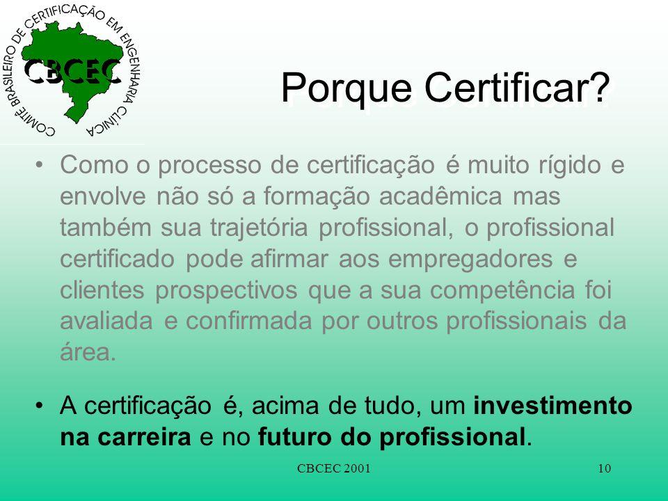 CBCEC 200110 Porque Certificar? •Como o processo de certificação é muito rígido e envolve não só a formação acadêmica mas também sua trajetória profis
