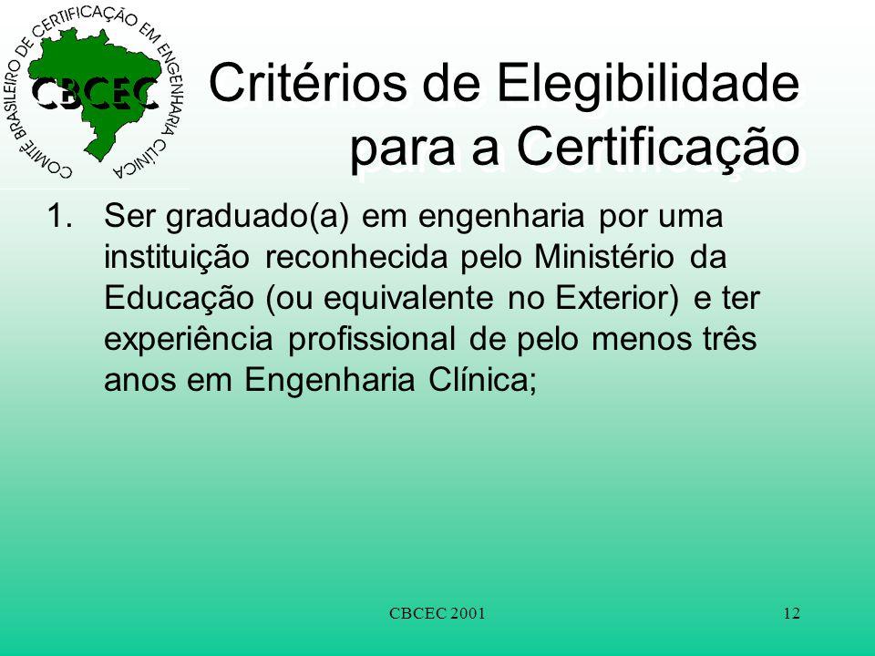 CBCEC 200112 Critérios de Elegibilidade para a Certificação 1.Ser graduado(a) em engenharia por uma instituição reconhecida pelo Ministério da Educação (ou equivalente no Exterior) e ter experiência profissional de pelo menos três anos em Engenharia Clínica;