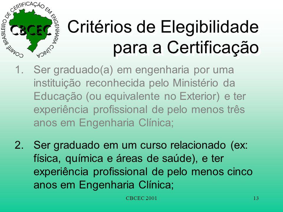 CBCEC 200113 Critérios de Elegibilidade para a Certificação 1.Ser graduado(a) em engenharia por uma instituição reconhecida pelo Ministério da Educaçã