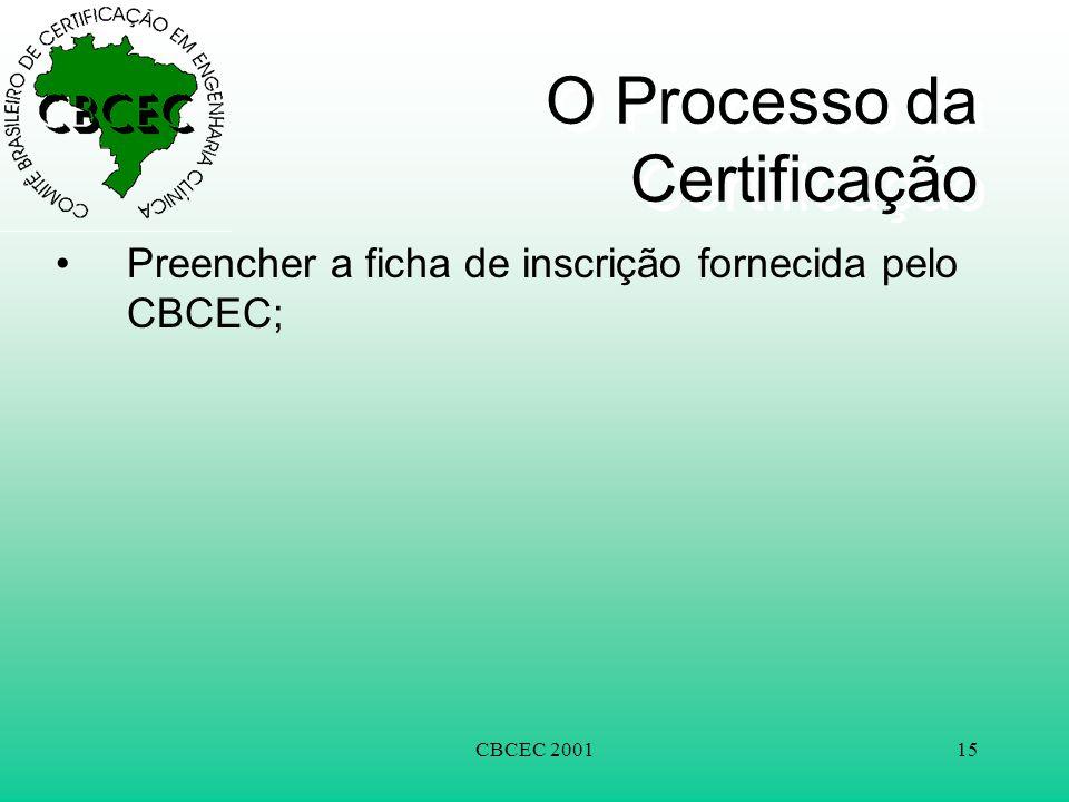 CBCEC 200115 O Processo da Certificação •Preencher a ficha de inscrição fornecida pelo CBCEC;