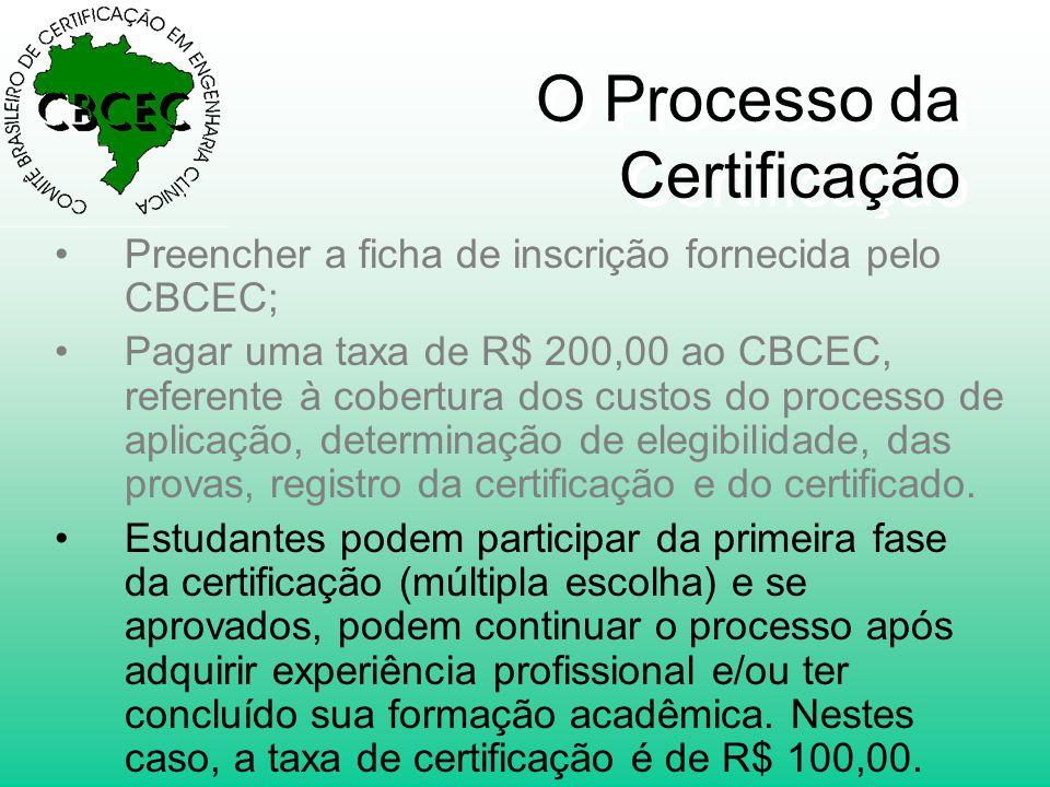 O Processo da Certificação •Preencher a ficha de inscrição fornecida pelo CBCEC; •Pagar uma taxa de R$ 200,00 ao CBCEC, referente à cobertura dos custos do processo de aplicação, determinação de elegibilidade, das provas, registro da certificação e do certificado.