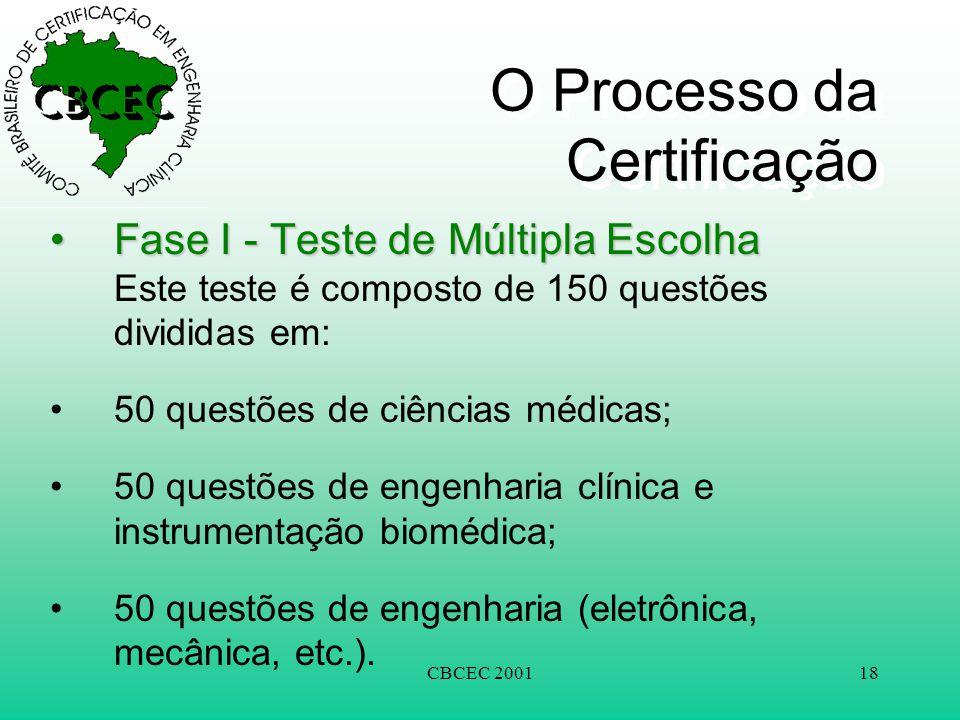 CBCEC 200118 O Processo da Certificação •Fase I - Teste de Múltipla Escolha •Fase I - Teste de Múltipla Escolha Este teste é composto de 150 questões