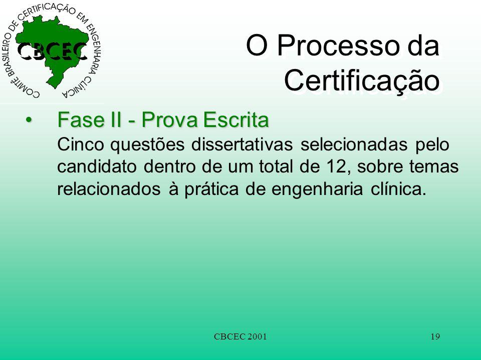 CBCEC 200119 O Processo da Certificação •Fase II - Prova Escrita •Fase II - Prova Escrita Cinco questões dissertativas selecionadas pelo candidato dentro de um total de 12, sobre temas relacionados à prática de engenharia clínica.
