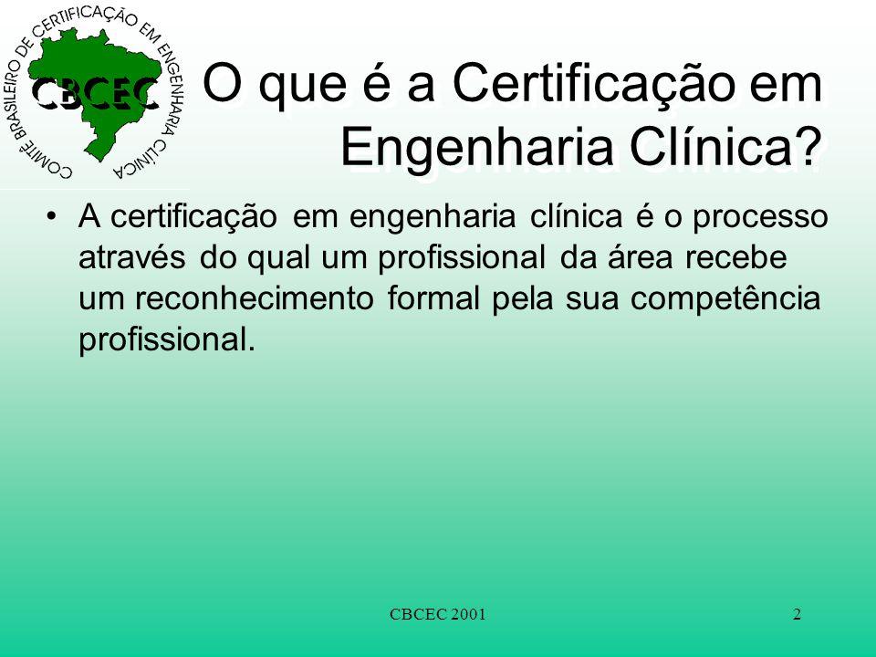 CBCEC 20012 O que é a Certificação em Engenharia Clínica? •A certificação em engenharia clínica é o processo através do qual um profissional da área r