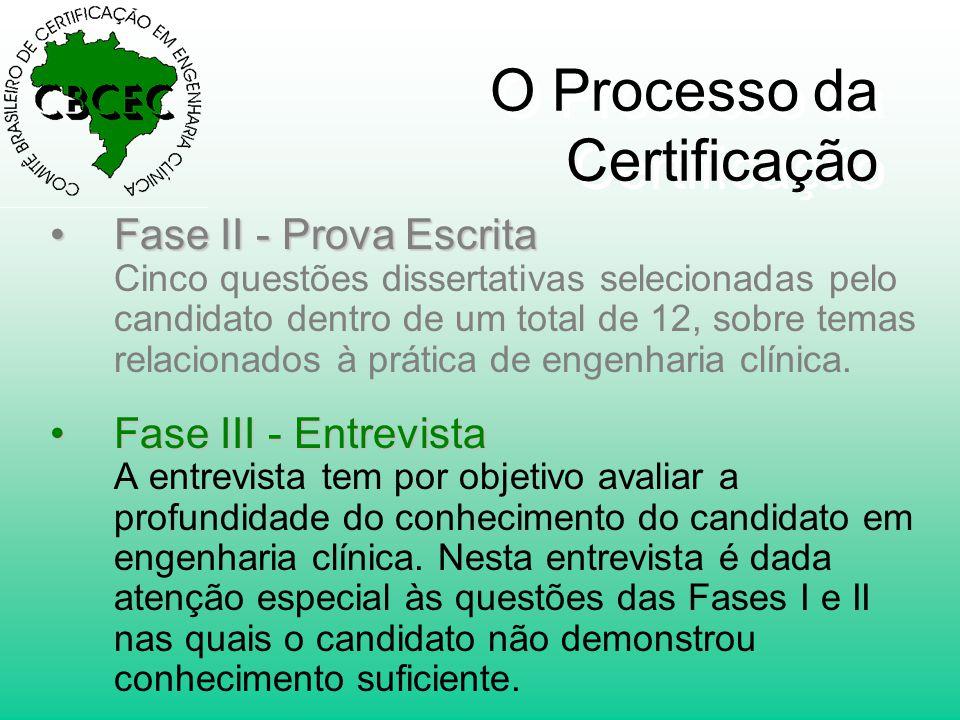 O Processo da Certificação •Fase II - Prova Escrita •Fase II - Prova Escrita Cinco questões dissertativas selecionadas pelo candidato dentro de um total de 12, sobre temas relacionados à prática de engenharia clínica.