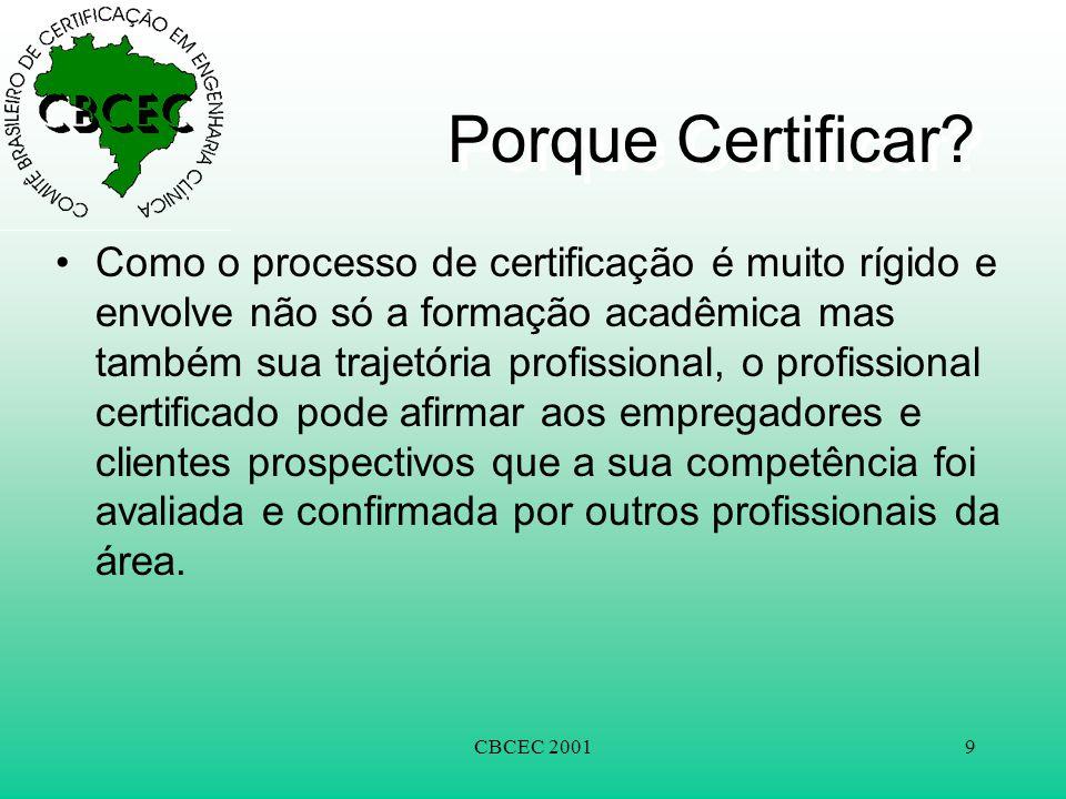 CBCEC 20019 Porque Certificar? •Como o processo de certificação é muito rígido e envolve não só a formação acadêmica mas também sua trajetória profiss
