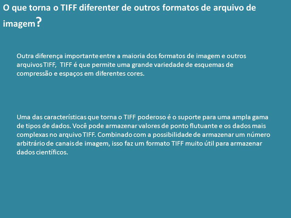 Outra diferença importante entre a maioria dos formatos de imagem e outros arquivos TIFF, TIFF é que permite uma grande variedade de esquemas de compr