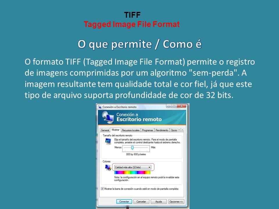 TIFF Tagged Image File Format O formato TIFF (Tagged Image File Format) permite o registro de imagens comprimidas por um algoritmo