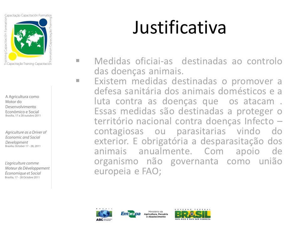 Justificativa  Medidas oficiai-as destinadas ao controlo das doenças animais.  Existem medidas destinadas o promover a defesa sanitária dos animais