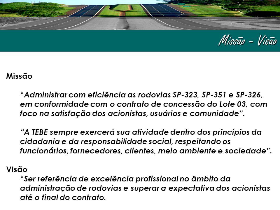 Missão - Visão Missão Administrar com eficiência as rodovias SP-323, SP-351 e SP-326, em conformidade com o contrato de concessão do Lote 03, com foco na satisfação dos acionistas, usuários e comunidade .