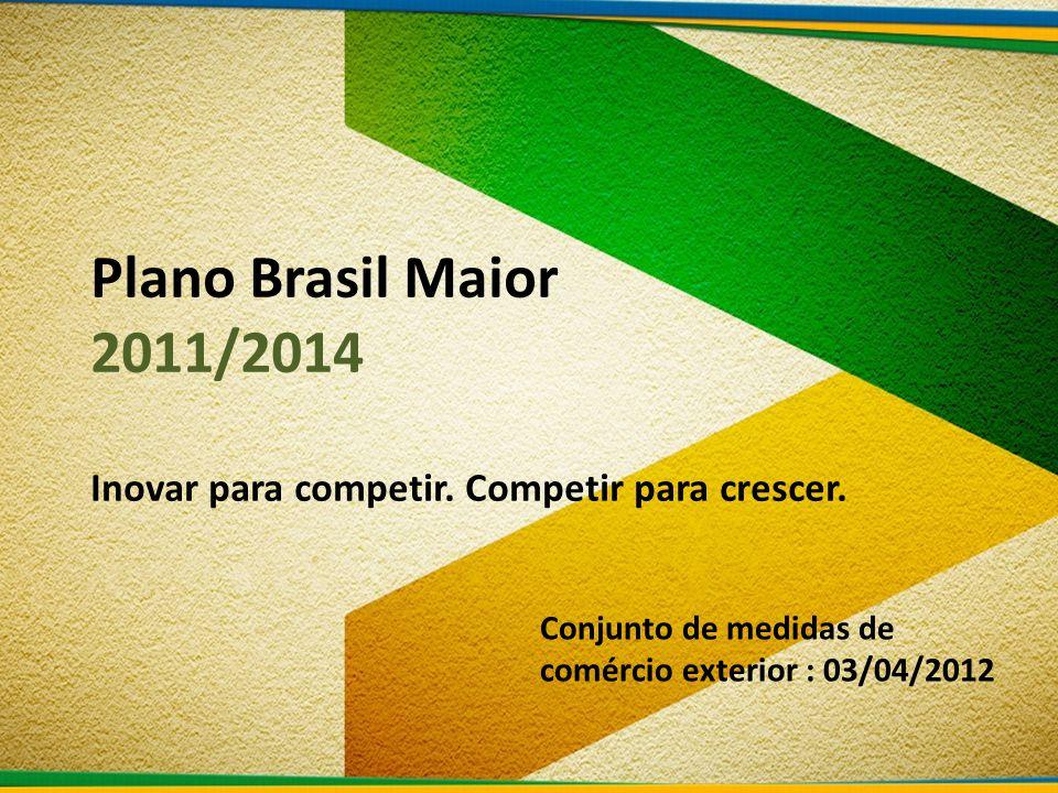 Plano Brasil Maior 2011/2014 Inovar para competir.