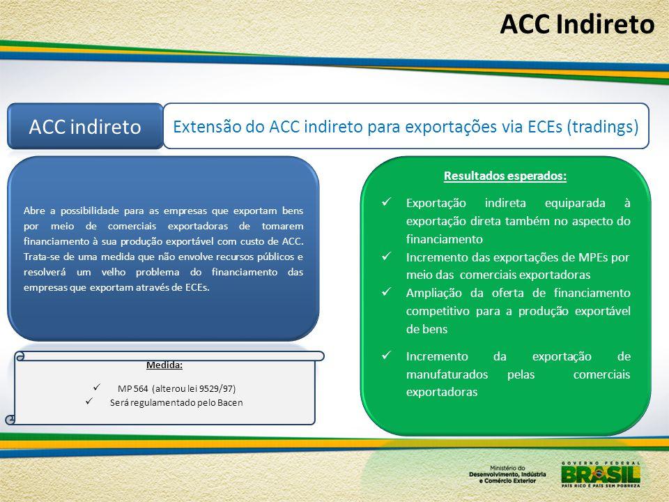 Extensão do ACC indireto para exportações via ECEs (tradings) Medida:  MP 564 (alterou lei 9529/97)  Será regulamentado pelo Bacen ACC Indireto