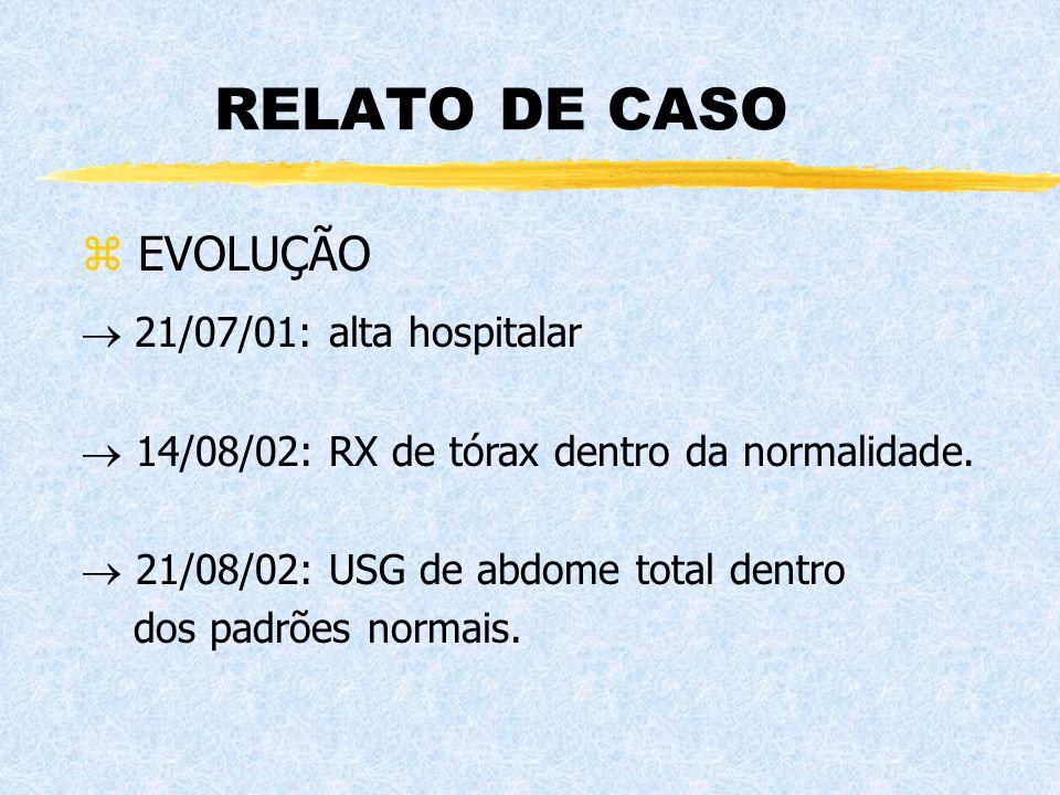 RELATO DE CASO z EVOLUÇÃO  21/07/01: alta hospitalar  14/08/02: RX de tórax dentro da normalidade.  21/08/02: USG de abdome total dentro dos padrõe