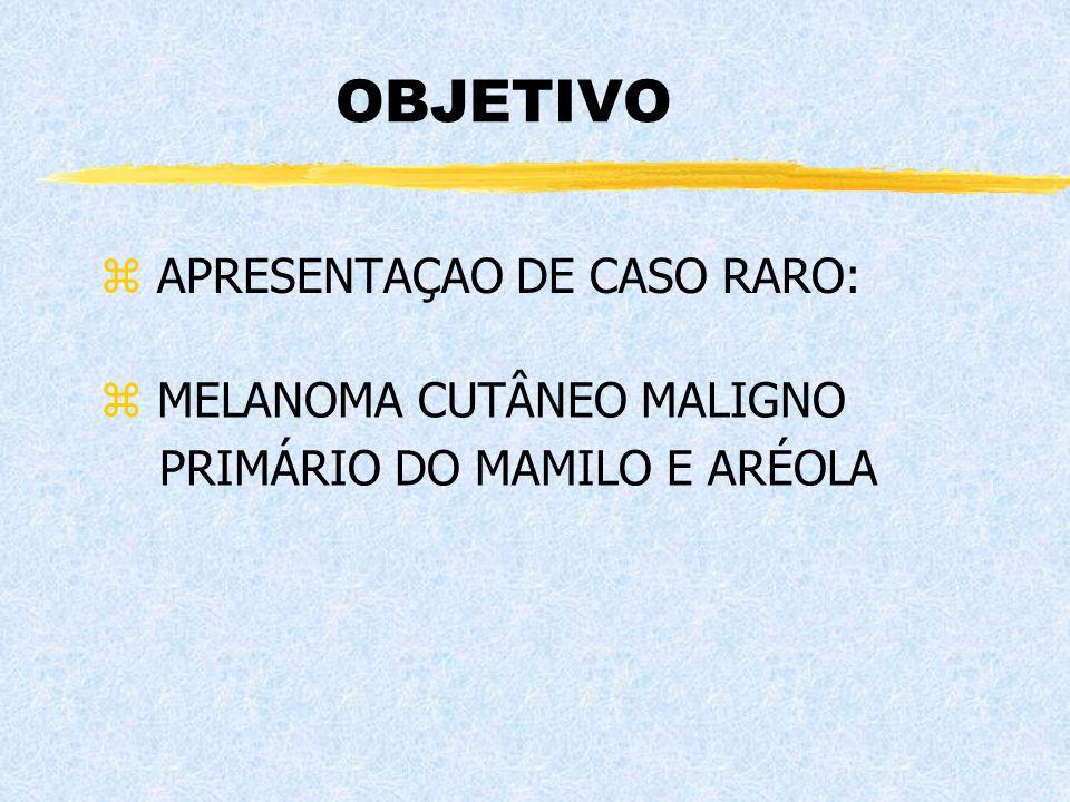 OBJETIVO z APRESENTAÇAO DE CASO RARO: z MELANOMA CUTÂNEO MALIGNO PRIMÁRIO DO MAMILO E ARÉOLA