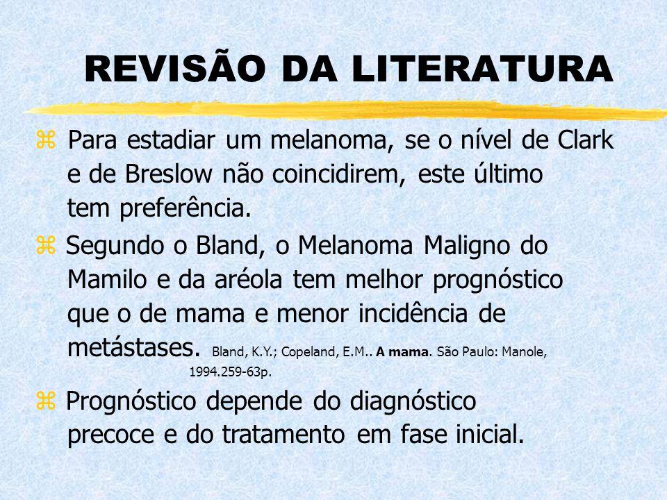 REVISÃO DA LITERATURA z Para estadiar um melanoma, se o nível de Clark e de Breslow não coincidirem, este último tem preferência. z Segundo o Bland, o