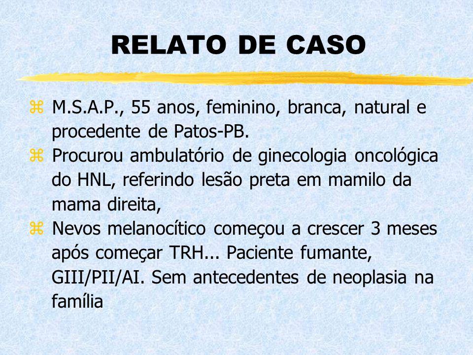 RELATO DE CASO z M.S.A.P., 55 anos, feminino, branca, natural e procedente de Patos-PB. z Procurou ambulatório de ginecologia oncológica do HNL, refer
