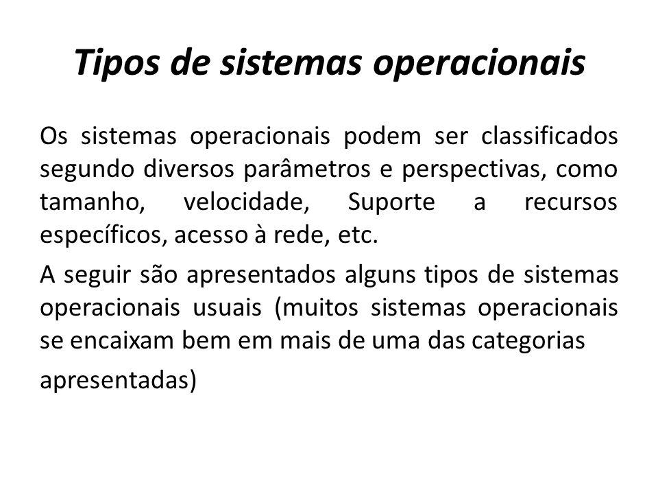 Tipos de sistemas operacionais Os sistemas operacionais podem ser classificados segundo diversos parâmetros e perspectivas, como tamanho, velocidade, Suporte a recursos específicos, acesso à rede, etc.