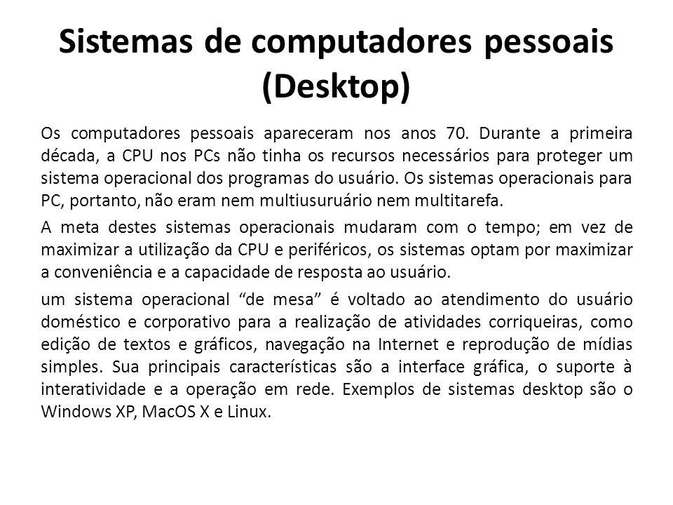Sistemas de computadores pessoais (Desktop) Os computadores pessoais apareceram nos anos 70.
